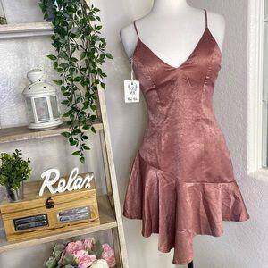 🆕Angel Biba satin asymmetrical mini dress